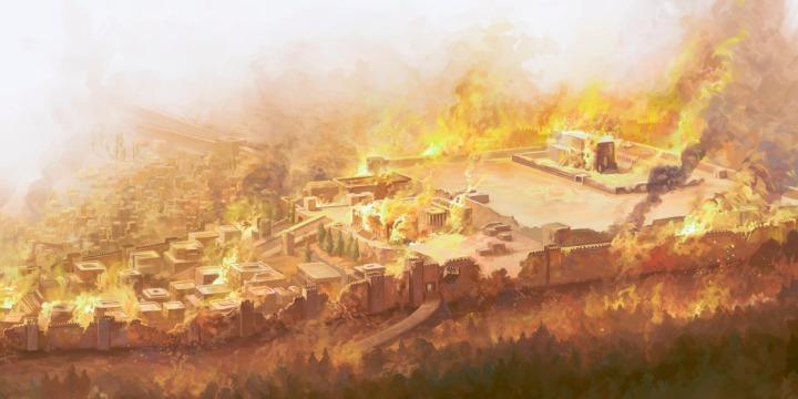 上图:主前586年,耶路撒冷和圣殿被巴比伦军队摧毁。