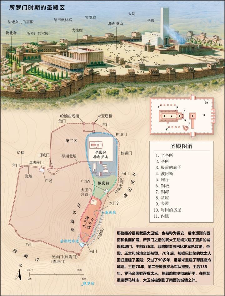 上图:艺术复原图:所罗门时期的圣殿、王宫及耶路撒冷城区的变迁。所罗门的王宫和圣殿可能是一个整体的建筑。