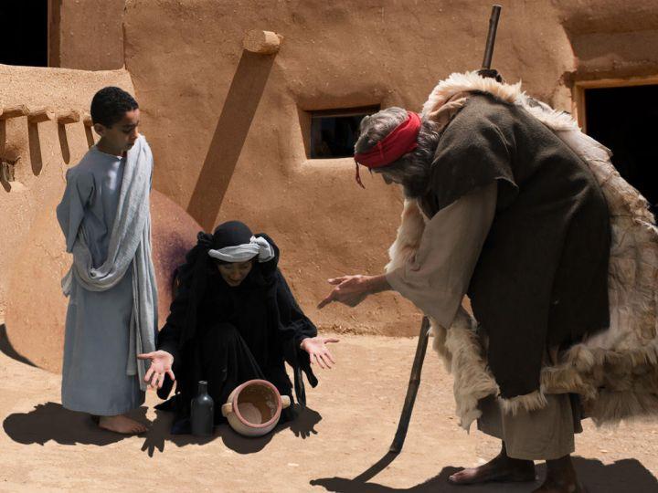 上图:西顿的寡妇对以利亚说:「我指着永生耶和华——你的神起誓,我没有饼,坛内只有一把面,瓶里只有一点油;我现在找两根柴,回家要为我和我儿子做饼;我们吃了,死就死吧!」(王上十七12)