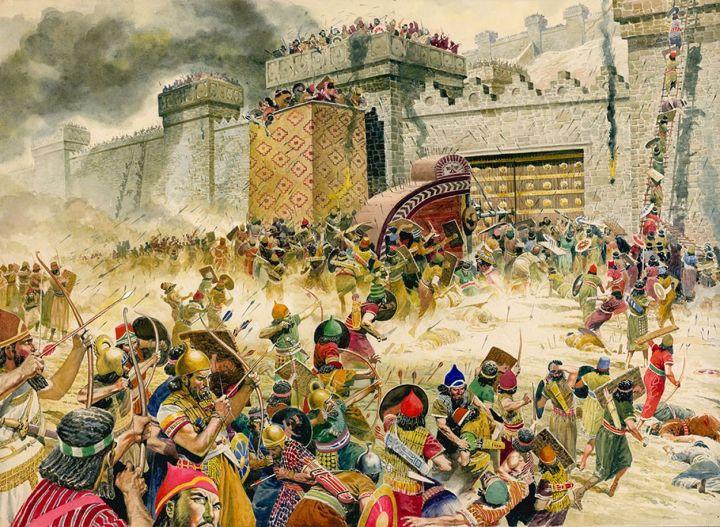 上图:新亚述帝国撒缦以色五世(Shalmaneser V,主前727-722年执政)围攻撒马利亚三年,于主前722年攻陷撒马利亚,北国以色列亡国,「将以色列人掳到亚述,把他们安置在哈腊与歌散的哈博河边,并玛代人的城邑」(王上十七7)。