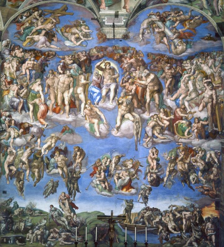 上图:《最后的审判》(Il Giudizio Universale),是意大利文艺复兴时期的画家和雕塑家米开朗基罗于1534年至1541年为西斯廷礼拜堂绘制的一幅巨型祭坛画,描绘基督再来审判世界。画面上方与天顶画相接处两个半圆形画面是一些无翼天使,左面一组抱的是十字架,右面一组抱的是耻辱柱。耶稣下方八个吹号角的天使正在唤醒死者宣示审判开始。画面正中央的耶稣正举起右臂宣告审判开始,看着下到地狱的人群。圣母玛丽亚站在耶稣右边,看着升上天国的人群。耶稣周围是十二门徒和殉道者们:耶稣右脚下方是殉道者圣·劳伦斯,他拿着烤肉架,因为他被放在烤肉架上活活烤死;耶稣左脚下方是使徒巴多罗买,手中拿着殉道时被割下的人皮,皮上的脸是米开朗基罗自己。画面下方左侧是升往天国的人群,右侧是将打入地狱的亡魂。画面右下角的船上向亡魂挥舞船桨的是地狱的引渡人,坐上船的亡魂将渡过阿克隆河进入地狱。米开朗基罗所厌恶的教宗儒略二世正在被地狱的蛇怪撕咬。