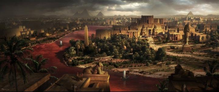 上图:电影《出埃及记》中的孟斐斯城艺术复原图。