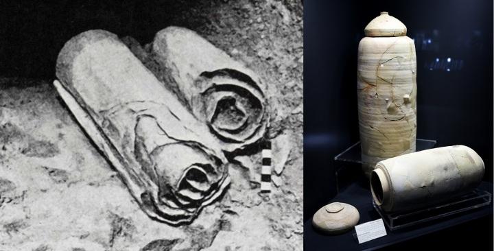 上图:死海古卷和保存死海古卷的陶罐。「以法莲的罪孽包裹;他的罪恶收藏」(何十三12),就像这些古卷被妥善存档、保管,作为审判的证据。