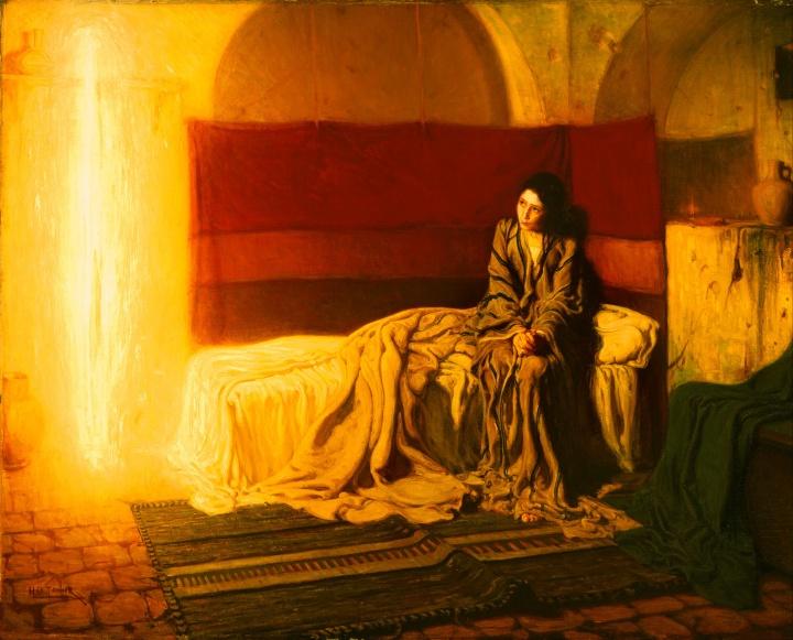 上图:美国19世纪非裔画家坦纳(Henry Ossawa Tanner, 1859-1937年)创作的《天使报喜图 The Annunciation),现藏于费城艺术博物馆。天使加百列被画成一团光,与左上角的架子形成了一个十字架。而马利亚与传统绘画中的形象完全不同,是一个中东农民女性的形象。