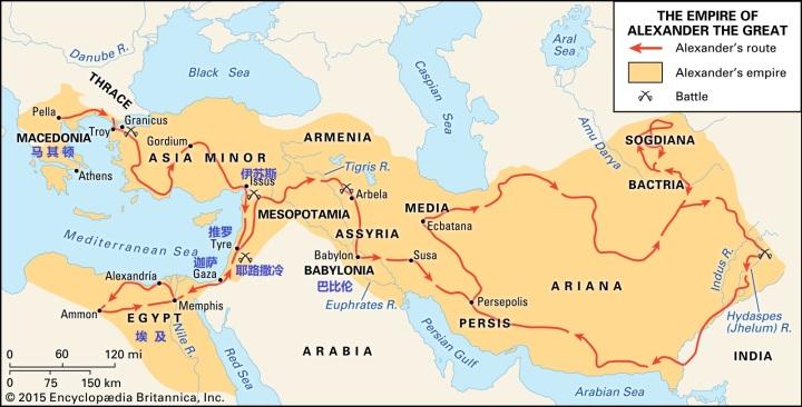 上图:亚历山大大帝征服的路线。主前334年,希腊马其顿帝国的亚历山大大帝(Alexander the Great,主前336-323年在位)进军亚洲,主前333年11月在伊苏斯战役(Battle of Issus)击败了波斯,然后转而南下清除波斯海军的后方。主前332年1-7月攻陷推罗(Tyre),9-10月攻陷埃及的门户迦萨(Siege of Gaza),然后进入埃及。埃及人则把亚历山大视为解放者而热烈欢迎,并视他为埃及法老。亚历山大决定在埃及海岸进尼罗河口处兴建一座城市,以自己的名字名为亚历山大。主前331年,亚历山大率军离开埃及,进军东方的美索不达米亚。撒加利亚书九1-7所列出的地名,正是亚历山大从伊苏斯前往埃及的行军路线。而根据犹太史学家约瑟夫的记载,亚历山大攻破迦萨后,前往耶路撒冷向神献祭,对犹太人相当优待,应验了亚九8的预言。