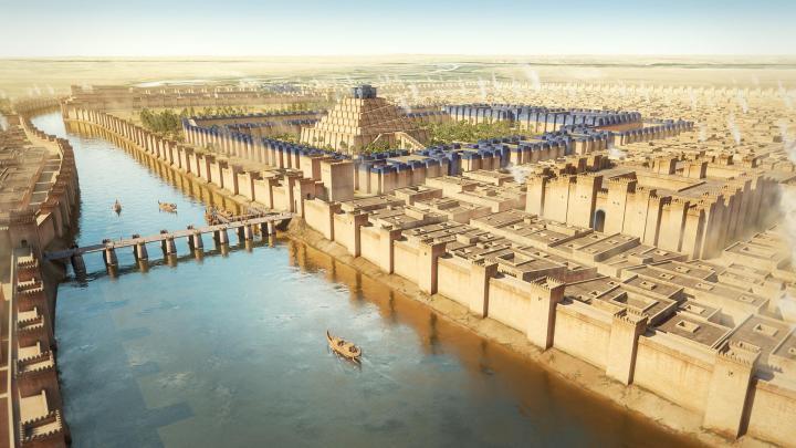 上图:尼布甲尼撒二世时代巴比伦城的艺术复原图。当时的巴比伦城是世界上最伟大的城市之一,所以迦勒底人自高自大。