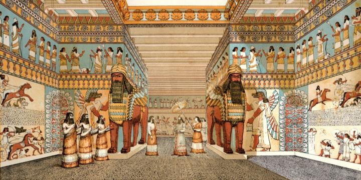 上图:亚述王西拿基立的图书馆中充满偶像。亚述的神庙中偶像众多,主神是众神之王亚述(Ashur)及战争和爱情女神伊施她尔(Ishtar),还有风神阿达德(Adad)等次要神祇,各自有其崇拜中心和祭司。这些神庙得到政府的丰厚补助,财源是连年战争期间对邻国搜掠所得。他们的仪式和宗教节庆多是借自古老的苏美和巴比伦。在撒珥根二世的宫殿里,墙上写着邀请「亚述,众神之父,伟大的主,和住在亚述的伊施她尔」来此安居。西拿基立将亚述首都迁至尼尼微,为女神伊施他尔重建了巨大的神庙建筑,企图建立敬拜众神的宗教中心。
