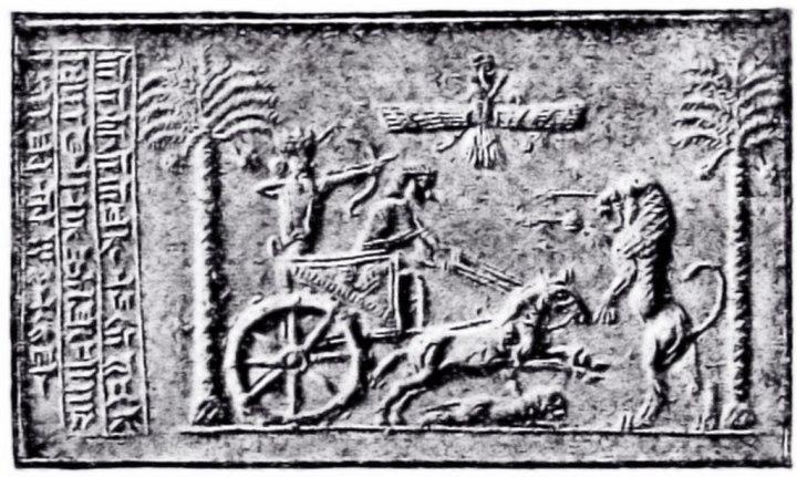 上图:大流士印章上的战车和马,撒加利亚异象中的四辆车可能就是类似的样式。