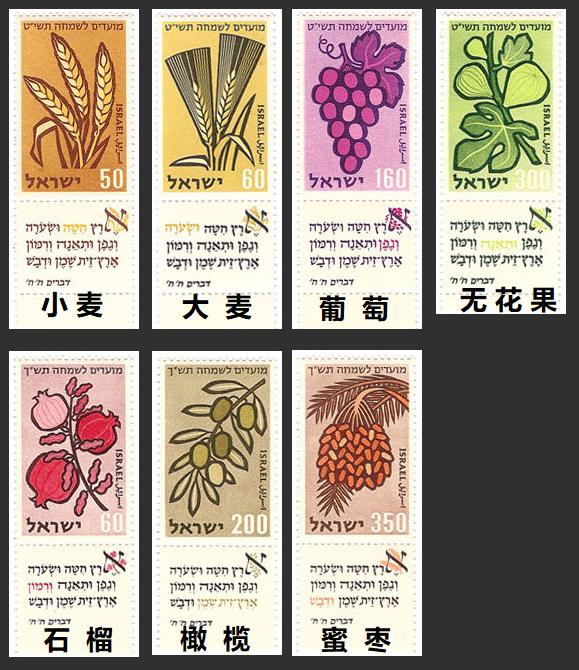 上图:以色列1958年发行的邮票,上面画着七粮(שבעת המינים, Shiv'at HaMinim)与有关的圣经经文。