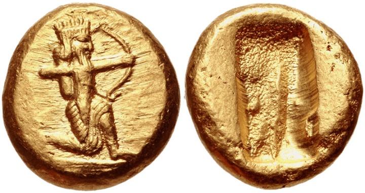 上图:达利克(Daric)是波斯阿契美尼德王朝发行的一种金币。主前546年,古列王借鉴了被征服的吕底亚王国(Lydia)的铸币经验,发行了达利克,重约8.4克,正面是古列王半跪射箭的形象,背面是一个长方形的戳印。达利克的含金量一直维持在95.83%左右,所以在两百年里一直是商贸领域最基本的流通货币,一直到主前330年波斯帝国被马其顿希腊帝国的亚历山大所灭。代上二十六7提到「金子五千他连得零一万达利克」,表明《历代志》的成书时间在主前546-330年之间。