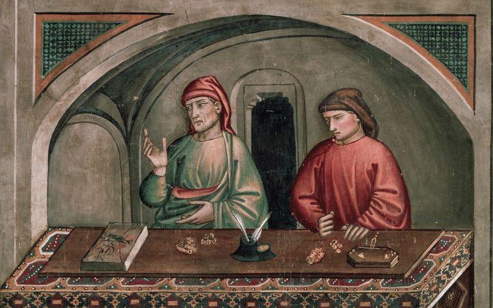 上图:意大利画家尼科洛·佩德罗·吉利尼(Niccolo' di Pietro Gerini)于1390-1399年在意大利普拉托的圣弗朗西斯科教堂(Church of San Francesco, Prato)创作的《圣马太的生活场景 Calling of St Matthew the Evangelist, scenes from the Life of St Matthew》。使徒马太在中世纪被当作银行家和会计师的守护圣人。