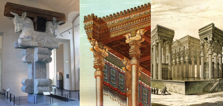 上图:书珊城波斯王宫大厅里的巨大圆柱顶,由希腊和吕底亚的石匠雕刻而成,现存于卢浮宫。大流士一世把书珊城作为帝国的行政首都,在三个高坡上建造了一座美索不达米亚式的宫殿建筑群,从北部俯瞰城市。王宫入口处有一个109平方米的宏伟大厅(apadana),有36个21米高的圆柱,每个都由刻着国王名字的方形底座和爱奥尼亚式立柱组成。柱顶包括:埃及的棕叶篮饰,以弗所亚底米神庙的双玫瑰结双蜗壳,美索不达米亚象征宇宙平衡的两只公牛,屋梁搁在背对背跪着的公牛脖子之间。这个柱顶有意结合了来自波斯帝国境内三大文明的元素,以展示帝国的统一。
