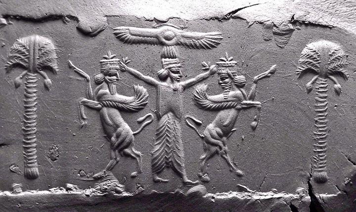上图:主前5世纪波斯圆形印章的图案,用来封印信件,尺寸28mm x 14mm。