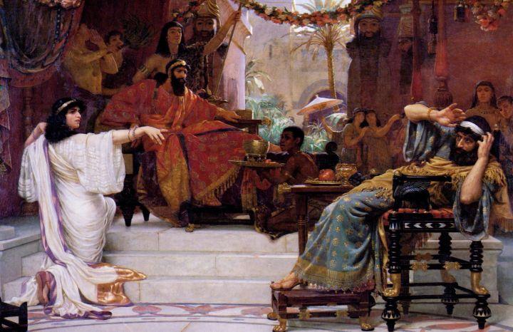 上图:英国画家欧内斯特·诺曼德(Ernest Normand,1857–1923年)1888年的油画作品《以斯帖谴责哈曼 Esther Denouncing Haman》,描绘以斯帖指控「仇人敌人就是这恶人哈曼」(斯七6)。