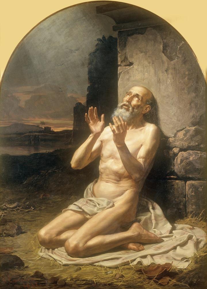 上图:墨西哥耶稣会画家贡萨洛(Gonzalo Carrasco Espinosa,1859-1936年)1881年的油画《约伯在粪堆中 Job on the Dunghill》,描绘「我厌烦我的性命,必由着自己述说我的哀情;因心里苦恼,我要说话」(伯十1)。