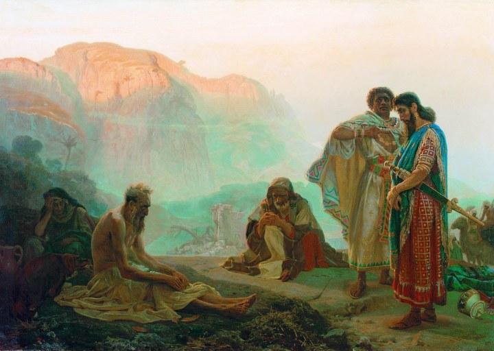 上图:俄国画家列宾(Ilya Repin,1844-1930年)1869年的油画作品《约伯和他的朋友们 Job and His Friends》。