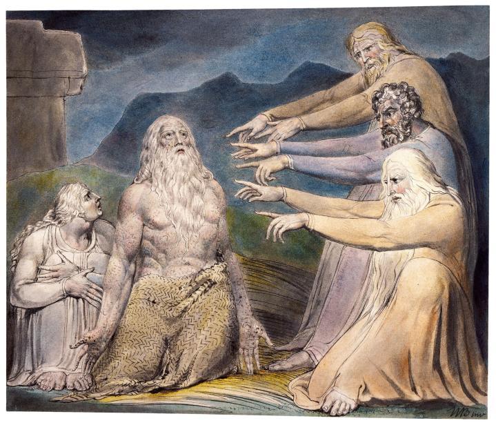 上图:英国诗人、画家威廉·布莱克(William Blake,1757-1827年)的版画《约伯被他的朋友们指责 Job Rebuked by His Friends》,描绘「公义完全人,竟受了人的讥笑」(伯十二4)。