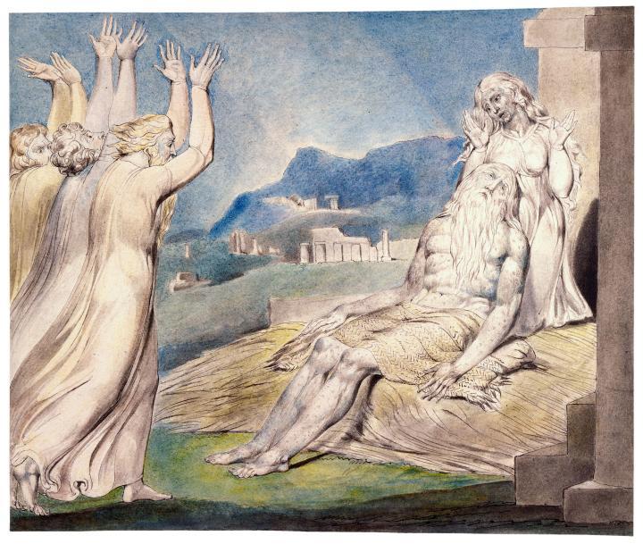上图:英国诗人、画家威廉·布莱克(William Blake,1757-1827年)的版画《约伯的安慰者 Job's Comforters》,描绘「他们远远地举目观看,认不出他来,就放声大哭。各人撕裂外袍,把尘土向天扬起来,落在自己的头上」(伯二12)。