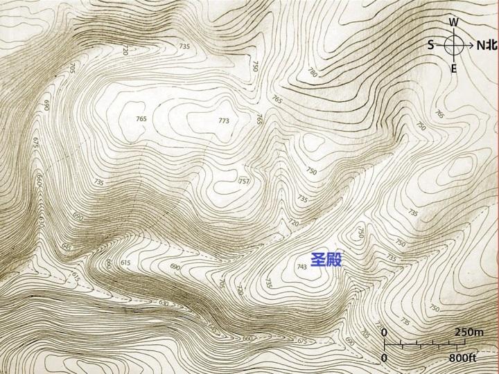 上图:耶路撒冷的地形图。图中可见,圣殿所在的锡安山位于群山之间,但周围的许多山都比锡安山高。其中橄榄山比锡安山高80多米。