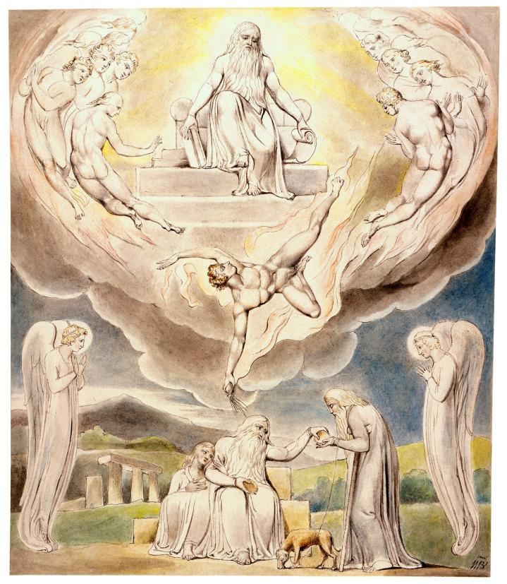 上图:英国诗人、画家威廉·布莱克(William Blake,1757-1827年)的版画《撒但从耶和华面前退去和约伯的慈善 Satan Going Forth from the Presence of the Lord and Job's Charity》,描绘「于是撒但从耶和华面前退去」(伯二7)。